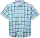 IZOD Men's Big and Tall Saltwater Dockside Chambray Short Sleeve Button Down Pla
