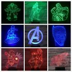 Kids 3D LED Night Lamp Superhero Captain America Hulk Panther Ironman Spider man
