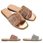 Womens Slip On Diamante Summer Slider Ladies Flat Mule Sandals Shoes Size