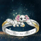 "Jewelry 925 Silver Pink Elephant Animal Ring Zircon ""Never Forget I Love You"""
