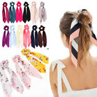 Diy Bow Satin Long Ribbon Ponytail Scarf Hair Tie Scrunchies Elastic Hair Rope