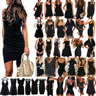 US Womens Summer Black Mini Dress Cocktail Party Beach Holiday Sundress Clubwear