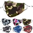 Camouflage Camo Cloth Face Mask Covering With (2) Activated PM2.5 Carbon Filters