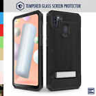 Galaxy A11 Case, Evocel Glass Screen Protector with Clip Holster & Kickstand