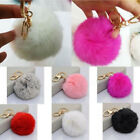 Women Fluffy Cute Ball PomPom Keychain Pendant Keyring Rabbit Fur Handbag Gift