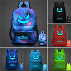 Pokemon Gengar Luminous Backpack Galaxy Nylon Shoulder School Bags Book Bag