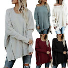 Plus Women's Irregular Long Sleeve Knitted Tops Jumpers Sweater Casual Pullover