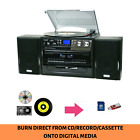 Stereo System Turntable Vinyl Record Player USB CD MP3 w/ Dual Cassette Recorder