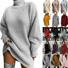 Womens High Neck Knit Long Sleeve Sweater Casual Pullover Jumper Tops Mini Dress