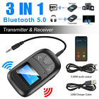 Bluetooth 5.0 Transmitter Receiver 3 IN 1 Wireless Audio USB Aux Adapter A2DP