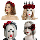 Bridal Headpiece Halloween Headbands Hair Wreath Wedding Garland Red Rose Crown