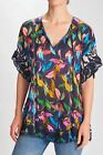 Johnny Was Saba Leaf Print Embroidered Blouse Boho Chic C14720A5 NEW