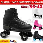 Women Men Roller Skates PU Leather High-top Four-Wheel Double Row Indoor Outdoor