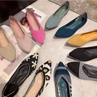Comfy Knitting Fabric Pointed Toe Flats Soft Princess Shoes Walking Plus Size