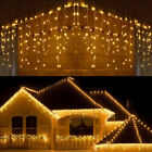 96-960LED 10-100FT Hanging Icicle Snow Curtain Outdoor Indoor Xmas String Light