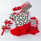 Christmas 4PCS Toddler Kid Baby Girls Christmas Print Romper Skirt Dress Outfits
