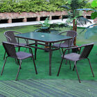 Large Table and Chairs Set Garden Patio Rectangle Furniture with Parasol Hole UK