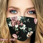 Reusable Washable Floral Roses Flower Pattern Ice Silk Cloth Face Mask Covering