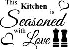 Seasoned With Love Kitchen Wall Art Sticker Home Decor, Quality Diy Decal Quotes