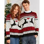 Womens Mens Couples Xmas Elk Print Sweater Casual Pullover Jumper Blouse Tops US