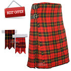 Scottish Red Wallace Men's 8 Yard Tartan Kilt With Flashes Premium Quality - WLC