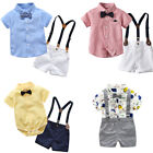 Cute Infant Baby Boys Gentleman Bow Tie Romper Shorts Overalls Outfits Clothes