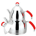 Turkish Stainless Steel Tea Pot Set, Samovar Style Self-Strainer Double Kettle