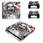 PS4 Slim Console Controllers Skin Decals Stickers Vinyl Joker Batman DC Suicide