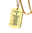 USA Stainless Steel English Bible Verse Dog Tag Cross Pendant Necklace Chain