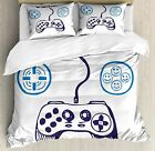 Lunarable Gamer Duvet Cover Set, Sketch of Videogame Controller with D-Pad and S