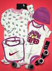 NIKE Baby GIRL 6-Pc GIFT SET: Coverall, Bodysuit, Cap ,Bib  Booties, 0-6 Months