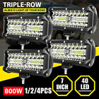 1/2/4pcs 7inch 800W LED Work Light Bar Flood Spot Fog Lamp Offroad Driving Truck