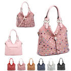 Ladies Multi Gem Shoulder Bag Diamante Stud Bucket Handbag Slouch Tote MA34684