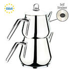 Turkish Tea Pots Set for Stove Top, Stainless Steel Double Tea Kettle, 3.54 qts