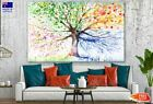 Colorful Watercolor Tree Painting Canvas Collection Home Decor Wall Print Art
