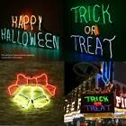 Neon Light Sign Santa Bells Shape Happy Halloween TRICK OR TREAT Wall Decor USA