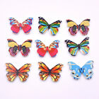 50Pcs Butterfly Shape Wooden Buttons 2 Holes DIY Craft Clothing Sewing Tool Auck