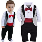 Lovely Newborn Infant Baby Boys Gentleman Romper Jumpsuit Wedding Party Outfits