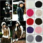 Beret Hat Fashion Winter Warm Baggy Knit Beanie Hoodie Slouchy Cap For Women