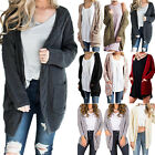 Women Chunky Knitted Open Front Long Sleeve Cardigan Sweater Coat Jacket Outwear