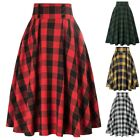 A-Line Skirt Elastic Waist Plaided Pleated Buttons Decorated Fashion New
