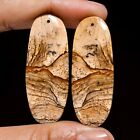Picture Jasper Oval Cabochon Drilled Gemstone Pair 44.95 Ct. 42X16X4 mm GI-2824