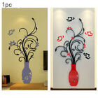 Decorations Acrylic Floral Decal Wall Sticker Diy Home Window Livingroom 3d Vase
