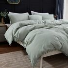 Andency Pom Pom Fringe Duvet Cover Full Size (79x90 Inch), 3 Pieces (1 Solid Sag