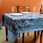 Cotton Tree of Life Floral Tablecloth Rectangle Blue Red Green Kitchen Linen
