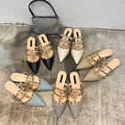 Rock Studs Mules Chunky Heel Flats Pointy Rivets Punk Blue Studded Women Shoes
