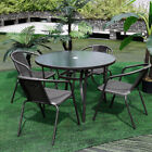 Garden Round 2/4 Seater Parasol Table & Chairs Set Patio Rattan, Folding Chair