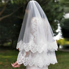 Wedding Veils with Comb 2T 2 Layers Sequins Lace Edge White Ivory Bridal Veils
