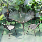 Metal Rattan Garden Furniture Glass Table Chairs Outdoor Patio Squaer 2/4 Seater