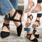 Womens Dolly Ballerina Ballet Pumps Flat Sandals Ankle Strap Court Casual Shoes